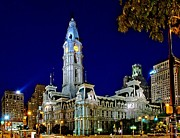 Philadelphia Photo Prints - Philly City Hall at night Print by Nick Zelinsky