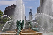 Philadelphia City Hall Digital Art Framed Prints - Philly Fountain Framed Print by Bill Cannon