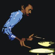 African-american Digital Art Prints - Philly Joe Jones Print by Walter Neal
