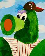 Phillies  Posters - Philly Phanatic Poster by Trish Tritz