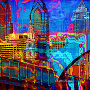 Philadelphia Skyline Digital Art Prints - Philly Skyline Print by Brilliant Hues