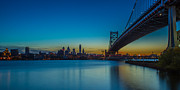 Ben Franklin Bridge Prints - Philly Skyline Print by David Hahn