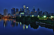 Night Photography Acrylic Prints - Philly Skyline Acrylic Print by Mark Fuller