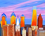 Philadelphia Pa Painting Posters - Philly Sunrise Poster by Jennifer Virgin