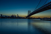 Ben Franklin Bridge Prints - Philly Sunset Print by David Hahn