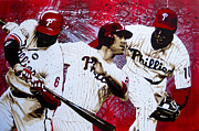 Chase Utley Paintings - Phillys Most Dangerous by Bobby Zeik
