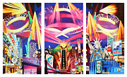 Landscapes Tapestries Textiles Originals - Phish New York for New Years Triptych by Joshua Morton