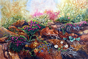Phlox Painting Prints - Phlox on the Rocks Print by Karen Mattson