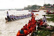 Boat Races Framed Prints - Phnom Penh boat races Framed Print by Christopher Brown