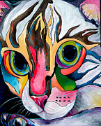 Whimsical Cat Art Prints - Phoebe Blu Print by Patti Schermerhorn