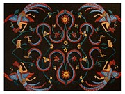 Needle Tapestries - Textiles Originals - Phoenix and Dragon by Bonnie Nash