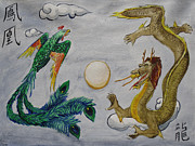 Chinese Characters Paintings - Phoenix and Dragon by Jeffrey Oleniacz