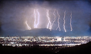 Lightning Storms Metal Prints - Phoenix Arizona City Lightning and Lights Metal Print by James Bo Insogna