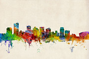 Silhouette Digital Art - Phoenix Arizona Skyline by Michael Tompsett