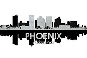 Urban Buildings Mixed Media Posters - Phoenix AZ 4 Poster by Angelina Vick