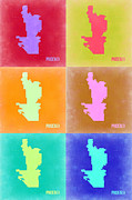 Phoenix Framed Prints - Phoenix Pop Art Map 3 Framed Print by Irina  March