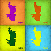 Phoenix Framed Prints - Phoenix Pop Art Map Framed Print by Irina  March