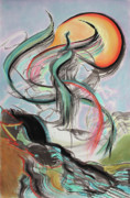 Dramatic Mixed Media Originals - Phoenix Rising by Asha Carolyn Young