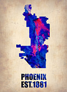 Phoenix Prints - Phoenix Watercolor Map Print by Irina  March