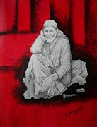 Sai Baba Paintings - Phone baba by Rajesh Sharma