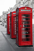 Old England Prints - Phone boxes on the Royal Mile Print by Jane Rix