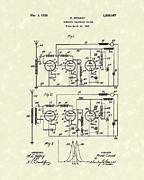 Patent Artwork Drawings Metal Prints - Phone System 1925 Metal Print by Prior Art Design