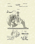 Record Player Drawings - Phonograph 1892 Patent Art by Prior Art Design