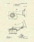 Record Player Drawings Posters - Phonograph 1908 Patent Art Poster by Prior Art Design