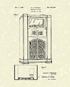 Jukebox Posters - Phonograph Cabinet 1936 Patent Art Poster by Prior Art Design