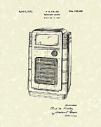 Phonograph Drawings - Phonograph Cabinet 1937 Patent Art by Prior Art Design