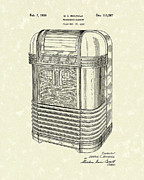 Record Player Drawings - Phonograph Cabinet 1939 Patent Art by Prior Art Design