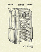 Record Player Drawings - Phonograph Cabinet 1940 Patent Art by Prior Art Design