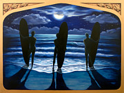 Surf Art Reliefs Posters - Phosphorus Nights Poster by Teri Tompkins