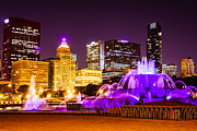 Lighted Framed Prints - Photo of Chicago at Night with Buckingham Fountain  Framed Print by Paul Velgos