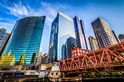 Architecture Metal Prints - Photo of Chicago Buildings at Lake Street Bridge Metal Print by Paul Velgos