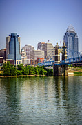 Ohio Photos - Photo of Cincinnati Skyline and Roebling Bridge by Paul Velgos