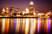 Ball Park Framed Prints - Photo of Cincinnati Skyline at Night Framed Print by Paul Velgos