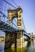 Historical Landmark Framed Prints - Photo of Roebling Bridge in Cincinnati Ohio Framed Print by Paul Velgos