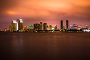 Condos Framed Prints - Photo of San Diego at Night Framed Print by Paul Velgos