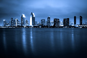 Businesses Photo Framed Prints - Photo of San Diego at Night Skyline Buildings Framed Print by Paul Velgos