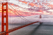 San Francisco Cali Prints - Photograph Evening Commute at Sunset across Golden Gate Bridge in San Francisco California Print by Traveling Photographs Dave Gordon