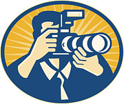 Photographer Art - Photographer DSLR Camera Shooting Retro by Aloysius Patrimonio