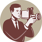 Camera Posters - Photographer Shooting Video Camera Retro Poster by Aloysius Patrimonio