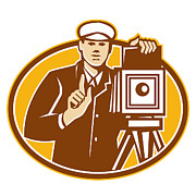 Photographer Art - Photographer Vintage Camera Front Retro by Aloysius Patrimonio