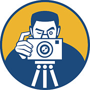 Camera Prints - Photographer With Camera Retro Print by Aloysius Patrimonio