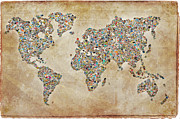 Old Map Digital Art Framed Prints - Photos World map Framed Print by Delphimages Photo Creations