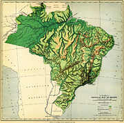 Old Map Paintings - Physical map of Brazil 1886 by MotionAge Art and Design - Ahmet Asar