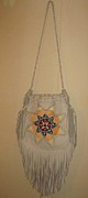Lois Picasso Metal Prints - Pi Squared Leather Textile Art Purse Metal Print by Lois Picasso