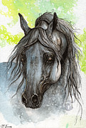 Horse Drawings - Piaff polish arabian horse watercolor  painting 1 by Angel  Tarantella