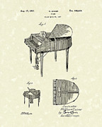 1937 Drawings Framed Prints - Piano 1937 Patent Art Framed Print by Prior Art Design